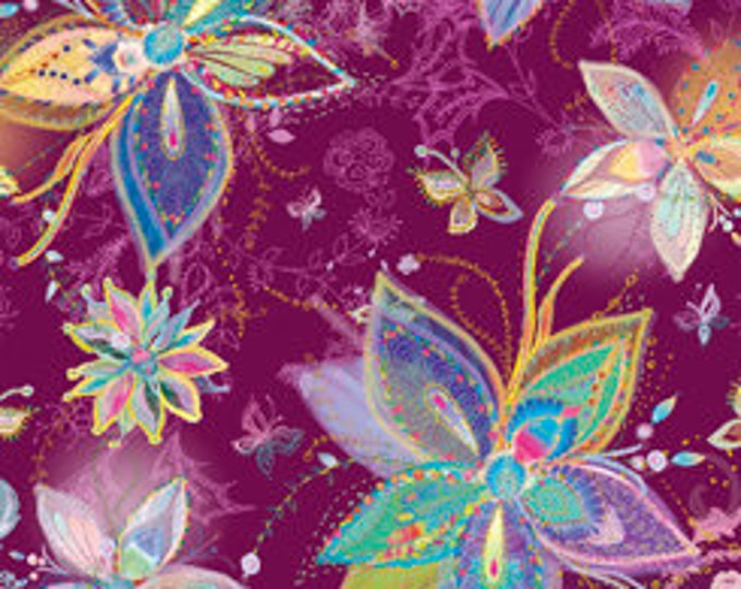 Quilting Treasures - Enchanted Floral - Large Flowers - Plum - Cotton Woven Fabric