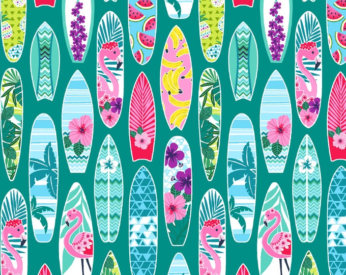 Studio E Fabrics - Flamingo Beach - Surf Boards 5040-61 - Cotton Woven Fabric