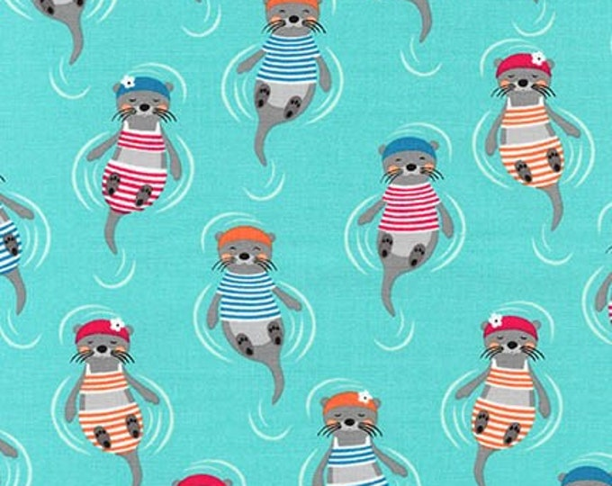 Flippers & Fins - Otters on Aqua - Cotton Woven Fabric for Robert Kaufman - AHE-18007-70-F2270002