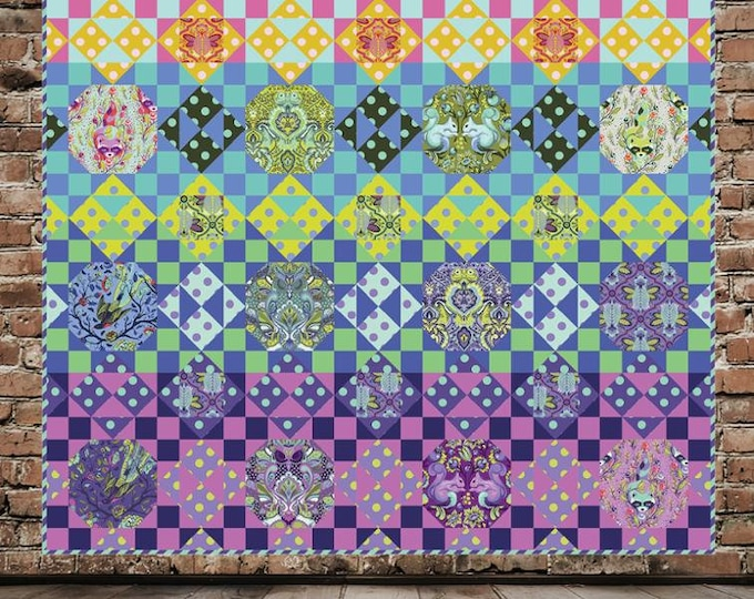 """Pattern - Urban Jungle by 3 Dog Designs Pattern - Finished size: 66"""" x 66""""  Featuring All Stars by Tula Pink"""