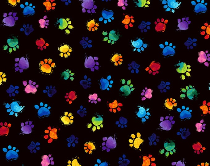 Timeless Treasures - Meow-Za by Chong-a Hwang - Multi-Colored Paws - Cat-C7487-Black  - Cotton Woven Fabric