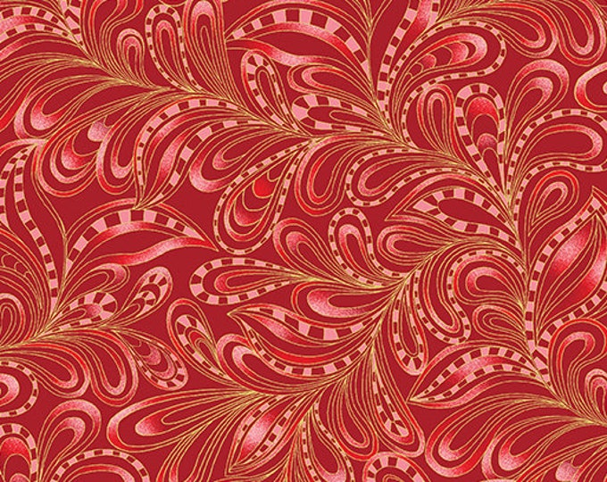 Benartex Fabrics  - Cat-i-tude Christmas by Ann Lauer -Rouge Featherly Paisley Cotton Woven Fabric with Metallic Accents 7555M-20