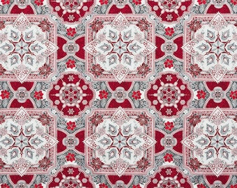 Robert Kaufman Fabric - Holiday Flourish - Silver Poinsettia w/Metallic 18in Panel - APTM-17335-186 -  Metallic Cotton Woven Fabric