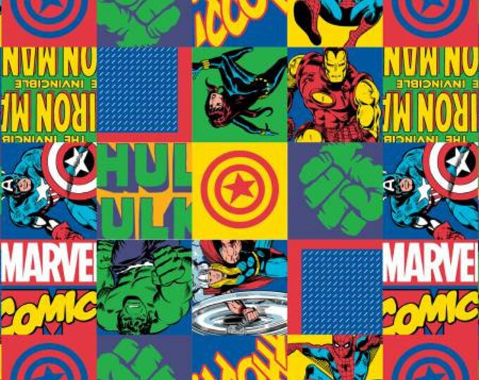 Marvel - Multi-Hero Blocks- Cotton Woven Fabric