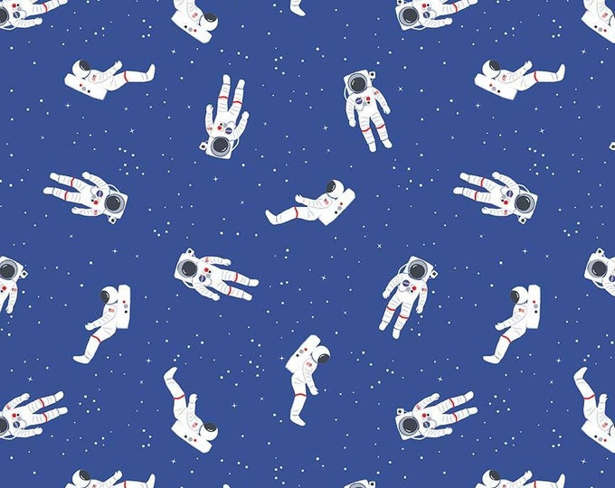 NASA Out of This World - Astronauts - Blue - Cotton Woven Fabric - C7801-Blue