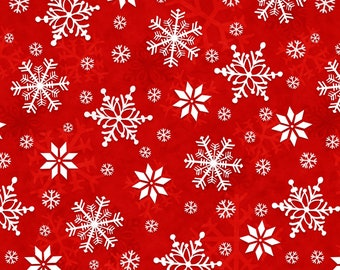 Henry Glass Fabrics - Winter Whimsy Flannel - Red Snowflakes Flannel # F1624-88 - 100% Cotton Flannel