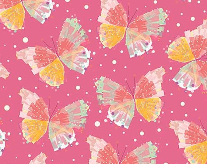 Confetti Blosssoms Butterflies on Pink cotton woven fabric