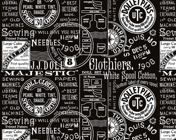 Riley Blake Fabrics - Paperdoll by  J Wecker Frisch - Black Text - Cotton Woven Fabric