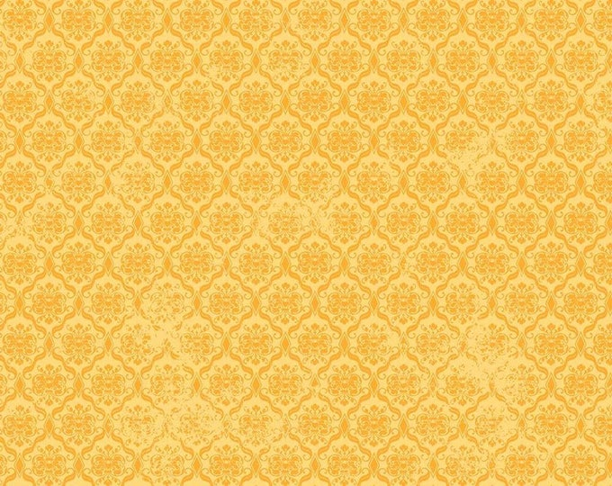 Santoro, Birds of a Feather, Damask Butterscotch cotton woven fabric by Quilting Tresures