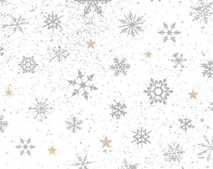 SALE !!! Woodland Wonders Snowflakes Gray Cotton Woven by Quilting Treasures