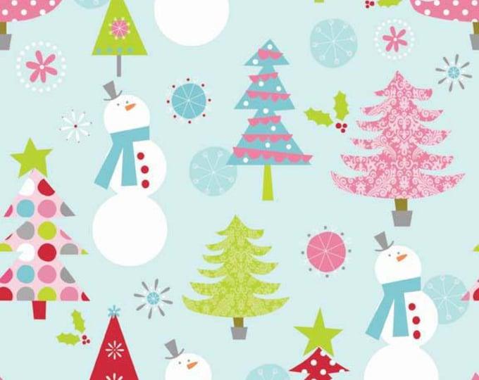 Riley Blake Christmas Main Blue Knit 95/5 Cotton/Spandex Knit Fabric