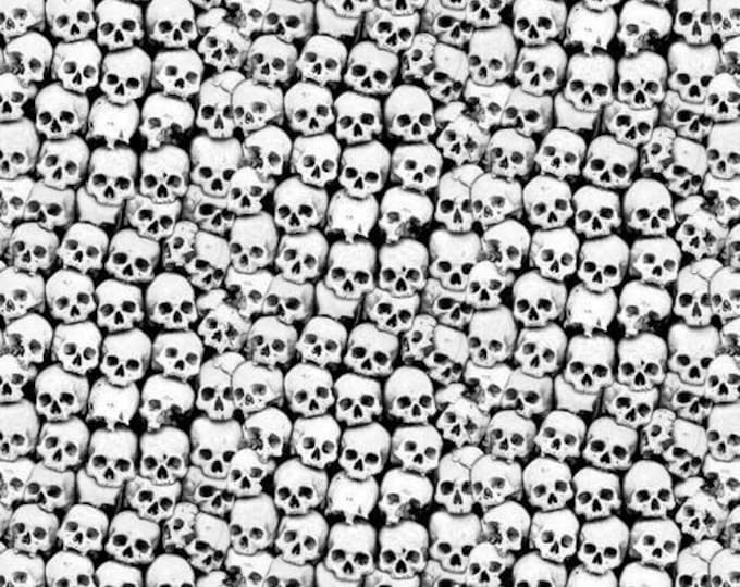Blank Quilting - Ghoulish Gathering - Stacked Skulls #9541G-99 Glow in the Dark Cotton Woven Fabric