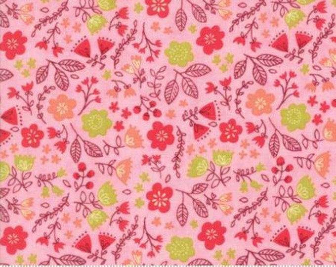 Moda Fabric - Just Another Walk in the Woods - Toss the Garden Pink Cotton Woven Fabric