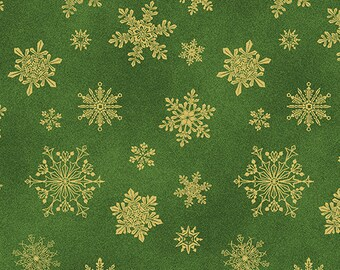 Benartex Fabrics  - Cat-i-tude Christmas by Ann Lauer -Green Playful Flakes Cotton Woven Fabric with Metallic Accents 6747M-45