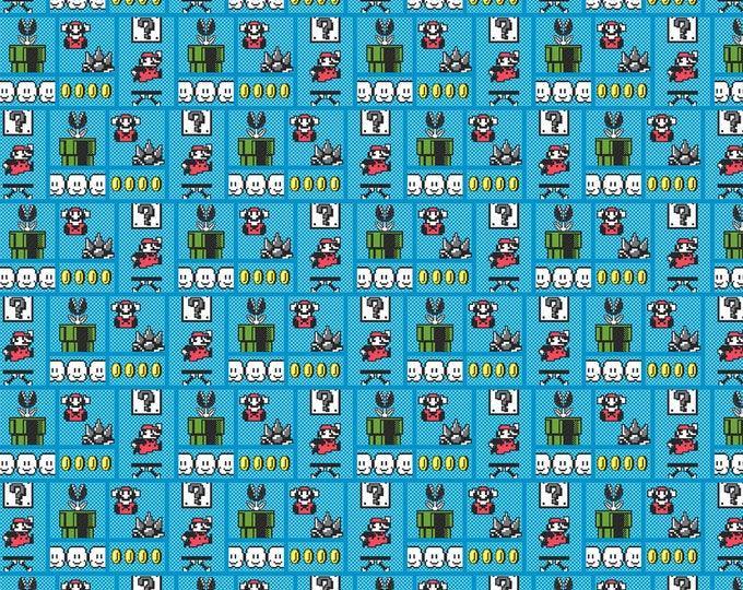 Springs Creative - Nintendo Super Mario Gameboard on Blue cotton woven fabric