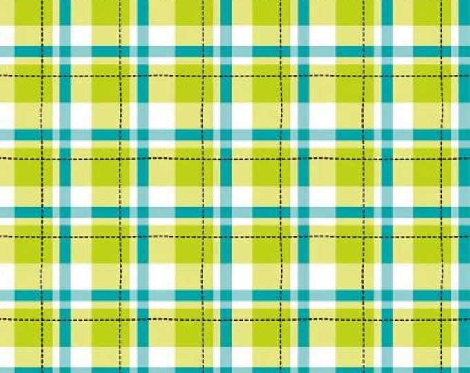 Camelot Fabrics - Game on Lime Plaid Cotton Woven Fabric