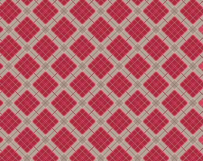 Lewis & Irene Fabrics - Celtic Reflections - Plaid - Red with Silver Metallic A338.2Cotton Woven Fabric