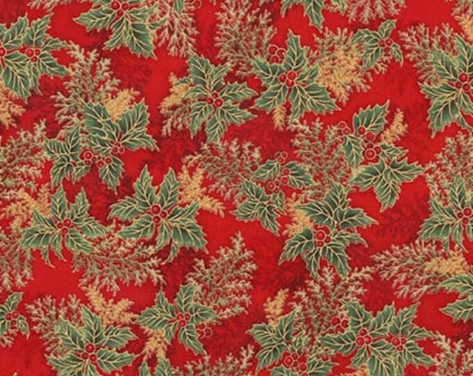 Robert Kaufman Fabric - Holiday Flourish - Crimson Holly Berry w/Metallic - APTM-17340-91 -  Metallic Cotton Woven Fabric