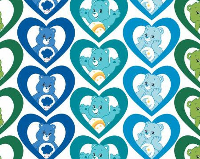 Camelot Fabrics - Licensed Care Bears -  Cool Hearts on Turquoise Cotton Woven Fabric