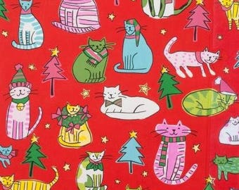 Alexander Henry Jingle Cats on Red Cotton Woven Fabric Out Of Print and Hard to Find
