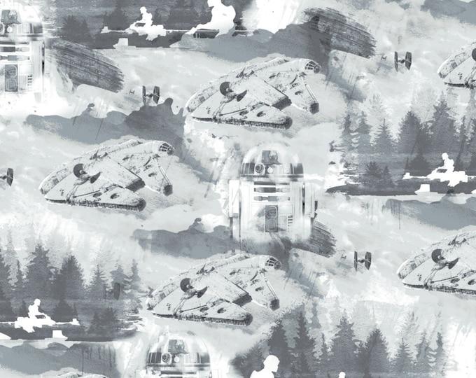Camelot Fabrics - Star Wars Watercolor - Grey Falcon Toile # 73010507-2 - Cotton Woven Fabric
