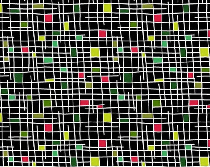 Andover Fabric - Holiday Tweets -  Multi Geo Squares on Black Cotton Woven Fabric