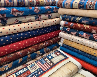 Quilting Treasures - American Pride - Fat Quarter Bundle of 19 Prints - (Panel is NOT included) -  Digitally Printed Cotten Woven Fabric