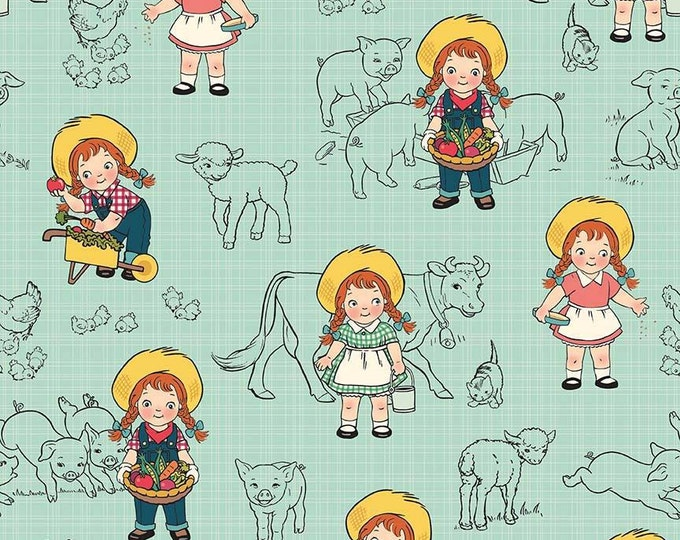 CLEARANCE  -  Riley Blake Design - Farm Girl - Main Teal Cotton Woven