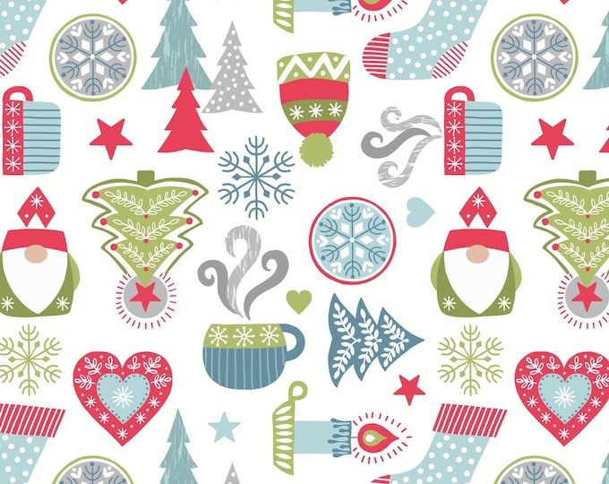 Hygge Christmas - Icons - Cream - Cotton Woven Fabric - Blank Quilting - C26.1