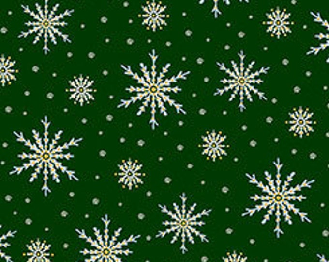 Quilting Treasures - Christmas Eve - Snowflakes on Green - Metallic Cotton Woven Fabric