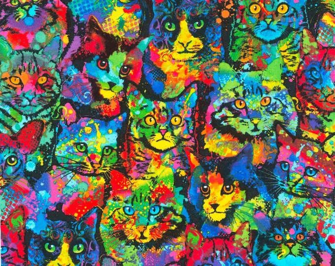 Timeless Treasures - Painted Cats - Cotton Spandex Knit