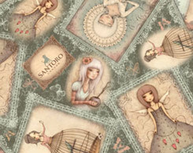 Quilting Treasures - Santoro Gorjus - Mirabelle, Lost Song, Overlapping Girl Patches - Teal - Cotton Woven Fabric