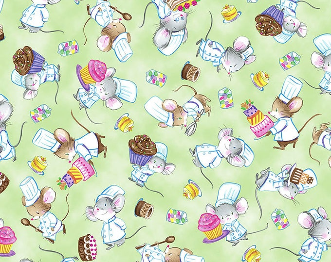 Timeless Treasures - Tossed Chef Mice Shirley-C7371-Green Cotton Woven Fabric