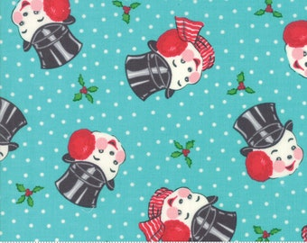 Moda Fabrics - Sweet Christmas by Urban Chiks - Mr. Snowman Coolmint #31152 15 Cotton Woven Fabric