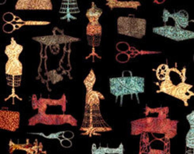 Seamless - Sewing Motifs on Black- Cotton Woven