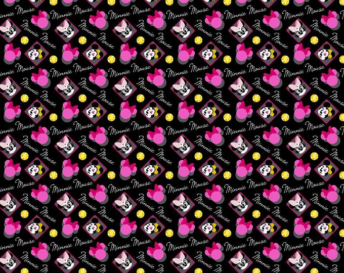 Springs Creative - Minnie Mouse toss on Black Cotton Woven Fabric