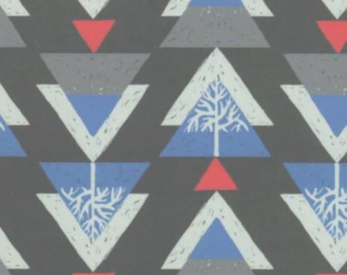 Dear Stella - Snofall - Gray Ski Trees geometric Cotton Shirting, Apparel cotton