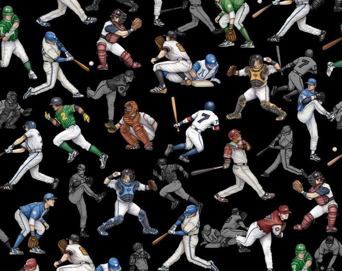 Quilting Treasures - Grand Slam - Wooden Baseball Players on Black Cotton Woven Fabric