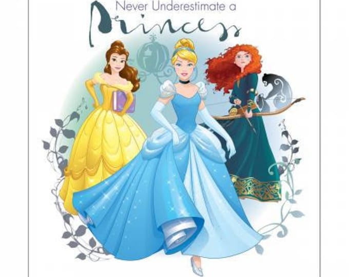 Never Underestimate a Princess 36 Inch Cotton Woven Fabric Panel - Disney Princesses by Camelot
