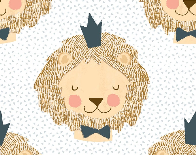 3 Wishes Fabric - Little Lion - King of Jungle # 16062-WHT - Cotton Woven Fabric