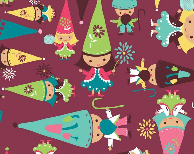 Fairyville Gnomes in Burgundy Cotton by Camelot Fabrics 1 yard