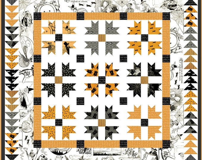 Riley Blake Designs - Goose Tales by J Wecker Frisch - Ghoost Stories Quilt Kit In A Box #KTB5845 -Includes Pattern, Top Fabrics and Binding
