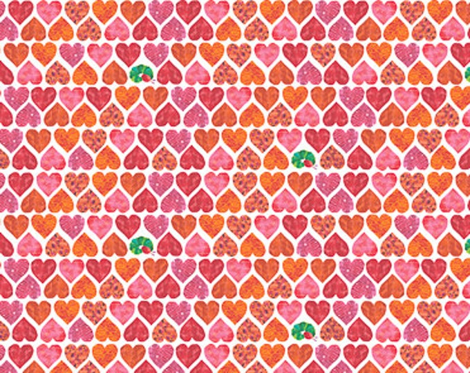 Andover Fabric - The Very Hungry Caterpillar -  Red Hearts Packed on White Cotton Woven