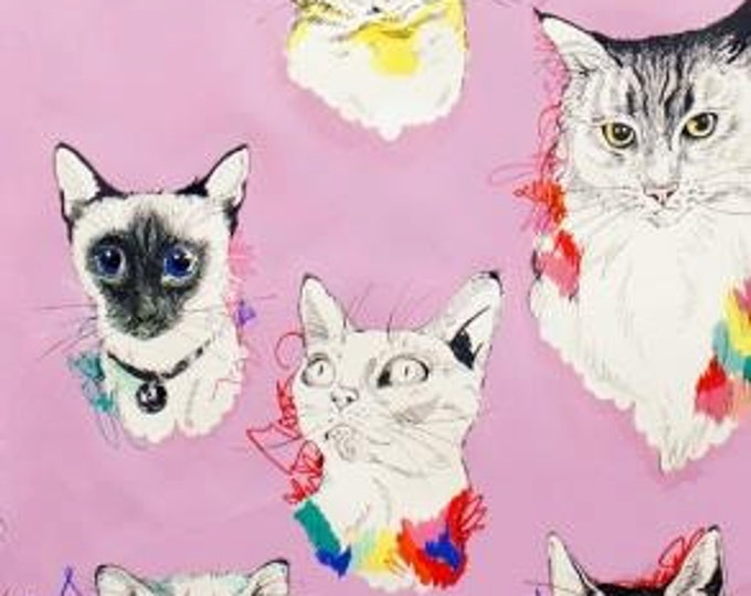 Alexander Henry Fabric - Meow Wow Kitties on Lavender Cotton Woven Fabric
