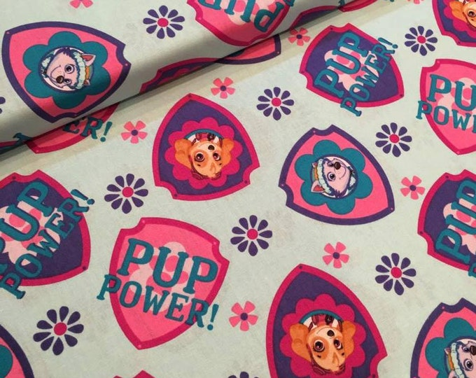 David Textiles - Paw Patrol - Shield Toss  / Badges Skye and Everest on Aqua Cotton Woven Fabric