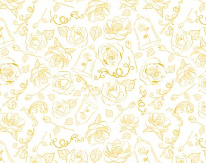 Camelot Fabrics - Beauty and the Beast - Gold The Rose Cotton Woven fabric from Beauty and The Beast by Camelot