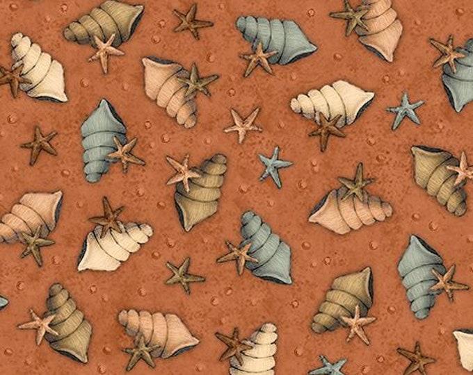Santoro Adrift Mermaid Shells & Stars Terracotta cotton woven fabric