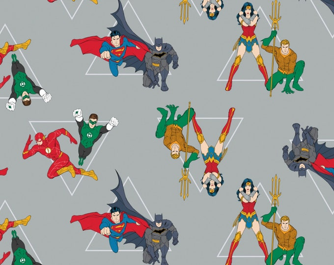 Justice League Activated - Grey Hero Pyramid - Cotton Woven Fabric - Camelot