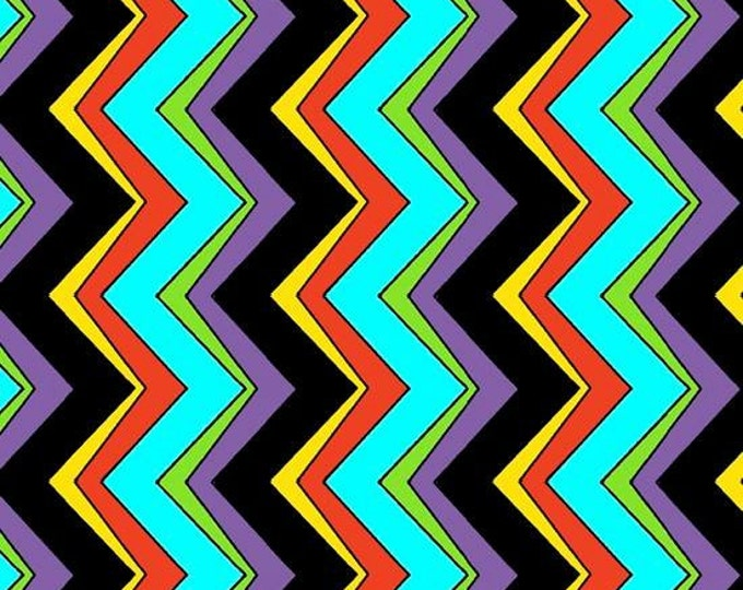 CLEARANCE  -    Quilting Treasures - The Painted Ponies - Black Chevron Vertical Cotton Woven Fabric  - Price per yard