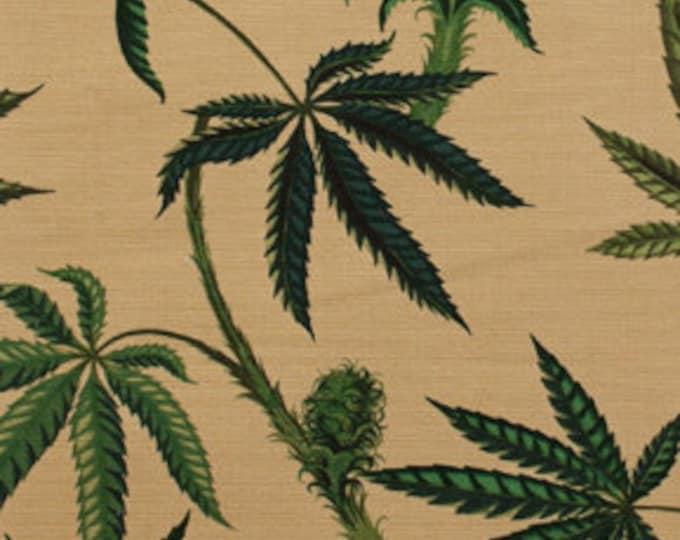 Cannabis Sativa Dark Tea Heavy Oxford Home Deco cotton fabric by Alexander Henry